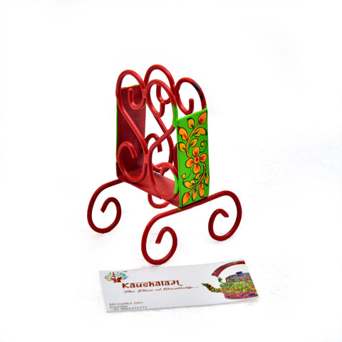 HAND PAINTED BUSINESS CARD HOLDER - RED & FLORESCENT GREEN
