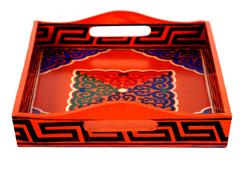Hand Painted serving tray in mdf : Ladakhi art work