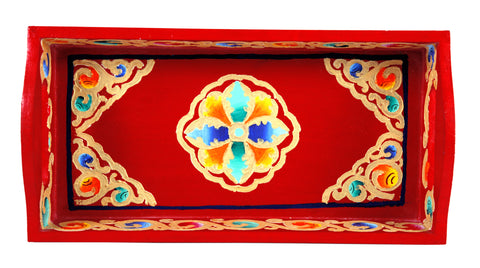 Hand Painted serving tray in mdf Small : Ladakhi art work
