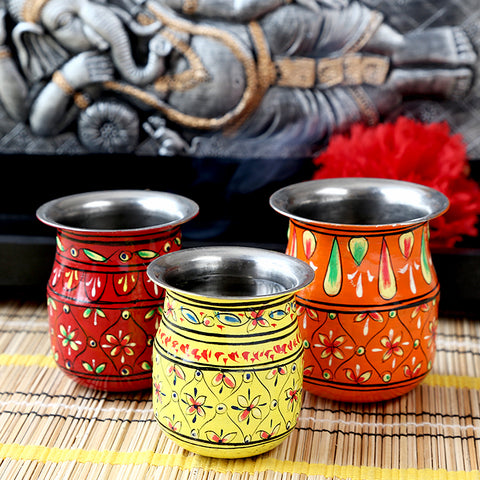 kalash Set of 3 - Red- Yellow-Orange