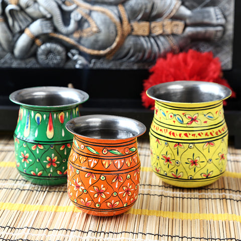 kalash Set of 3 - green - Yellow - Orange