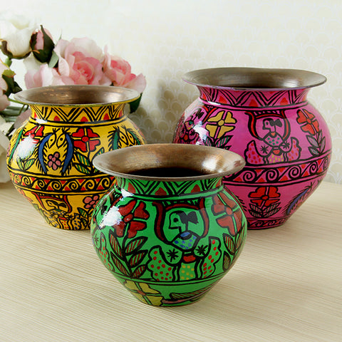 Copper Kalash Set of 3 ; Vases, Sugar Pots