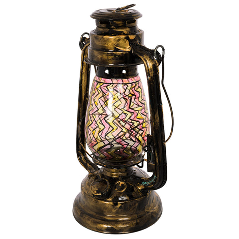 Hand Painted Hurricane Lantern:  Antiqua Black