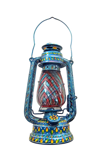Hand Painted Hurricane Lantern: Metalic Blue