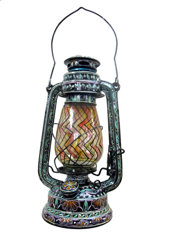 Hand Painted Hurricane Lantern: Black