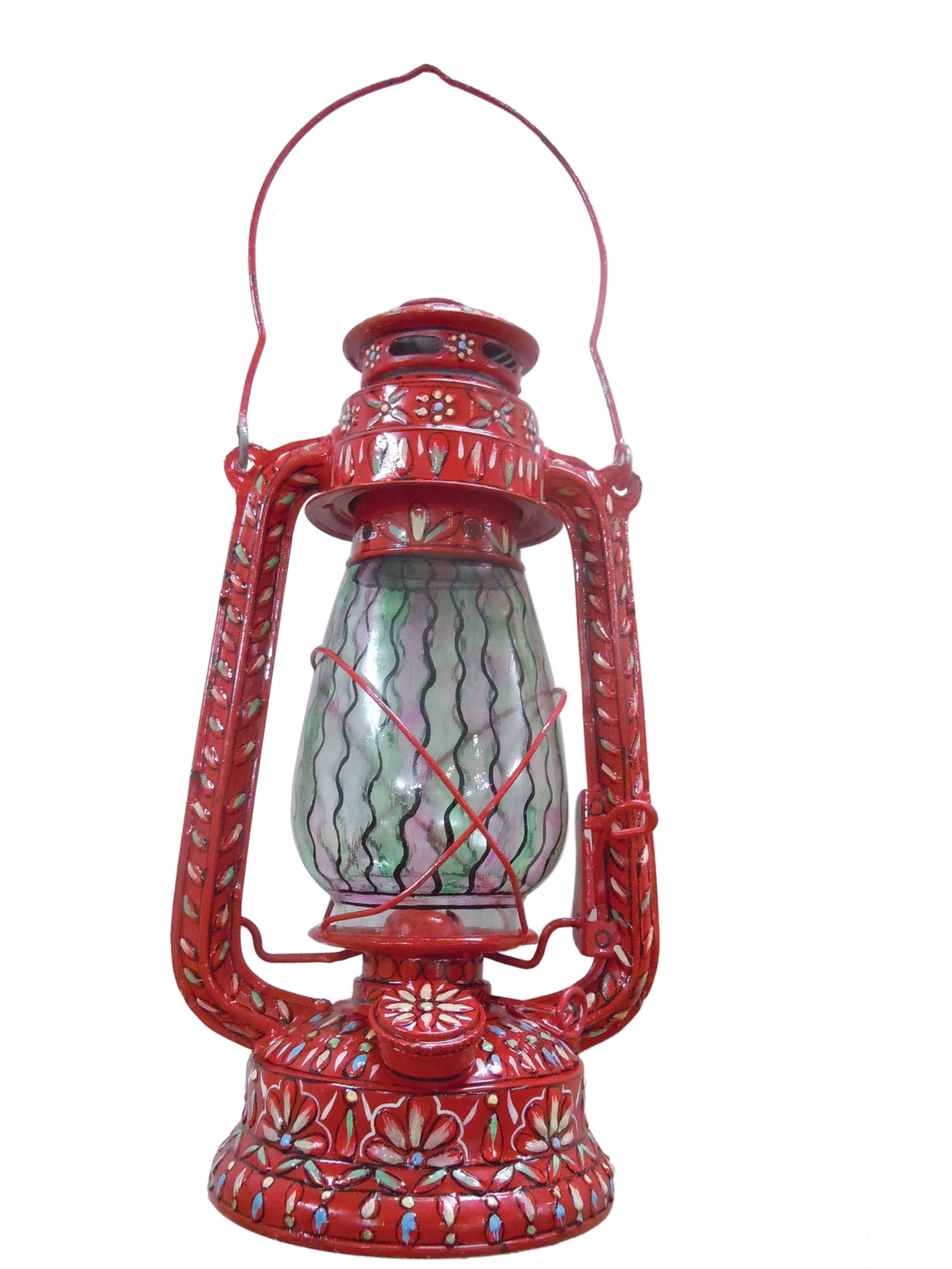 Hand Painted Hurricane Lantern: Red