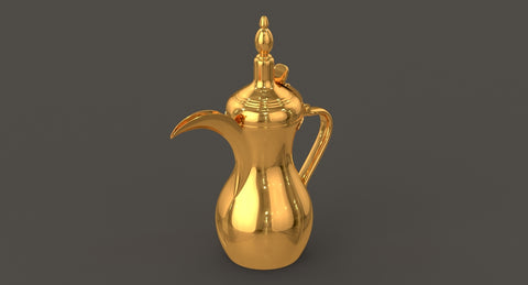 Majestic Brass Coffee pot- Arabic Dallah Coffee Pot, Great Arabic brass décor,