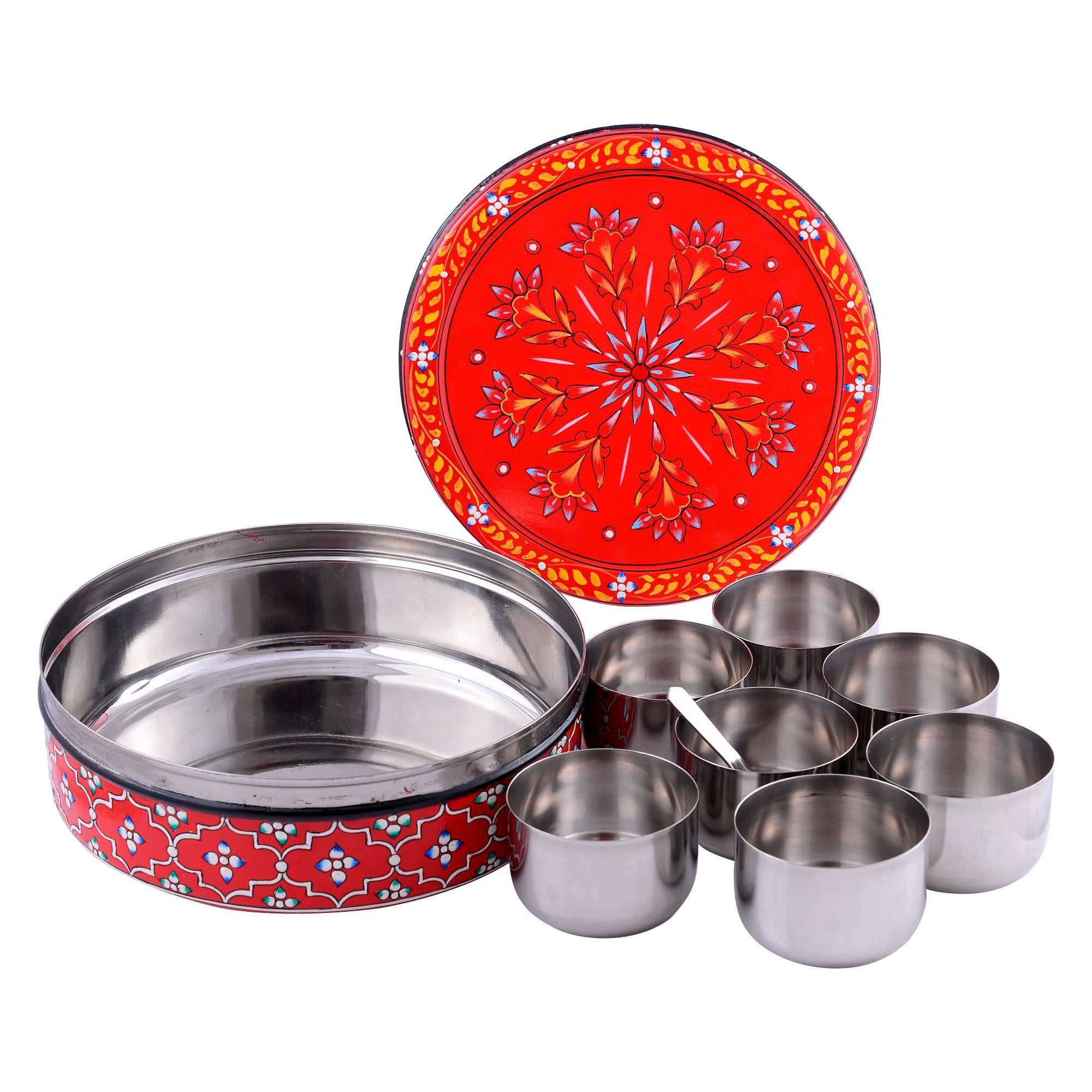 Kaushalam Hand Painted Spice Box - Masala Box, Spice Containers, Indian Masala daani
