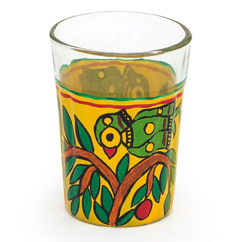 Kaushalam Tea Glass set of 6- Parrots on the tree