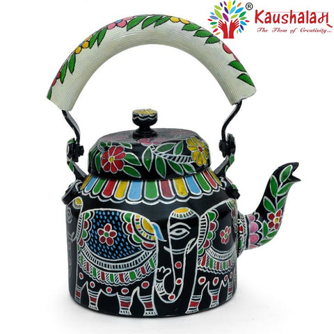 Hand Painted Kettle : White Elephant
