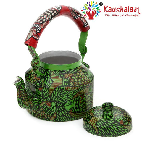 Hand Painted Kettle : Green Pond