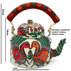 Hand Painted Kettle : Peacock couple