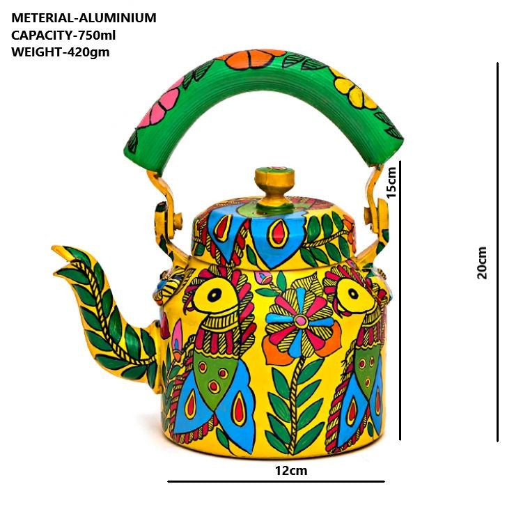 Hand Painted Kettle : Parrots