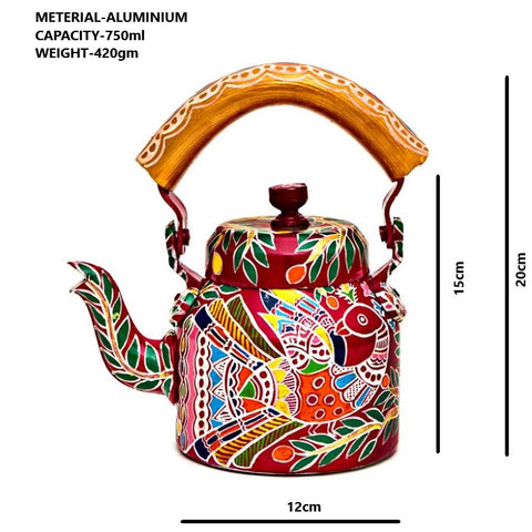 Hand Painted Kettle : Peacock