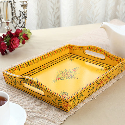 Kaushalam Large Tray: Yellow