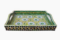 Kaushalam Mosaic art serving tray: Green