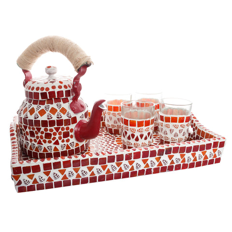 Kaushalam Mosaic Tea Set: Red