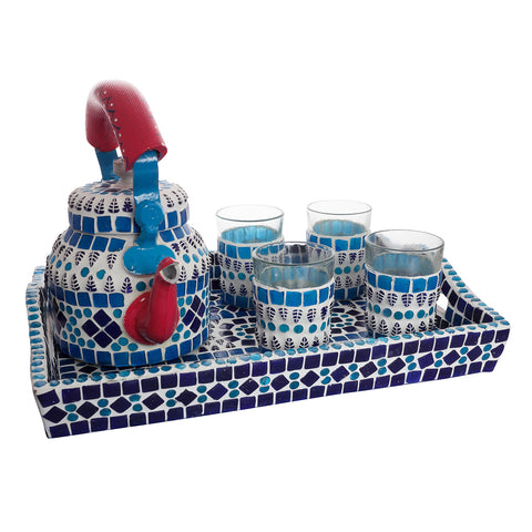 Kaushalam Mosaic Tea Set: Blue