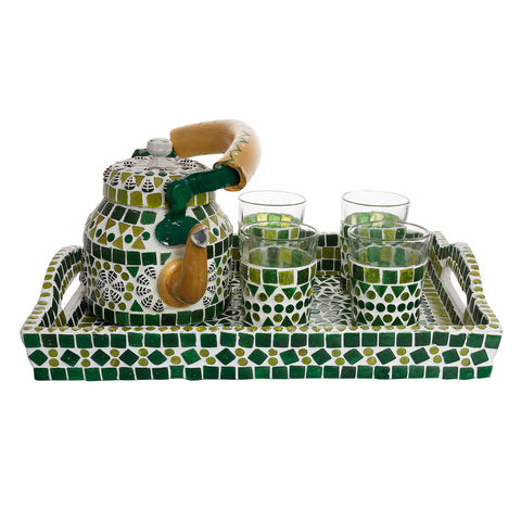 Kaushalam Mosaic Tea Set: Green