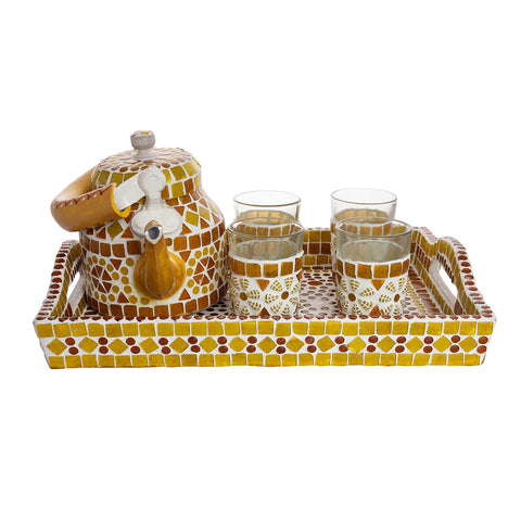 Kaushalam Mosaic Tea Set: Amber Yellow