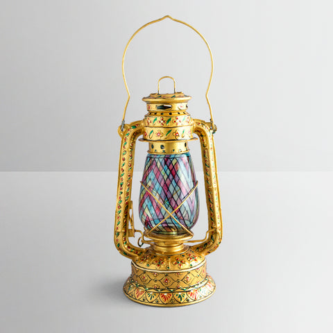 Hand Painted Hurricane Lantern: Golden