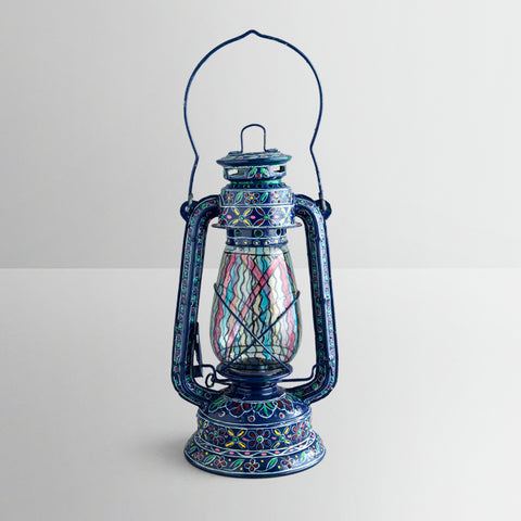 Hand Painted Hurricane Lantern: Blue