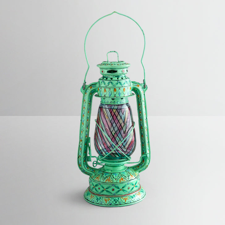Hand Painted Hurricane Lantern: Aqua Green