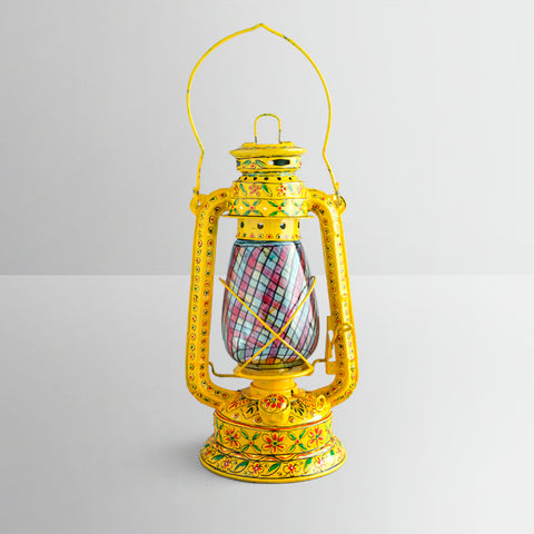 Hand Painted Hurricane Lantern: Yellow