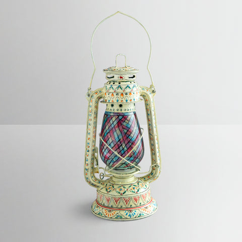 Hand Painted Hurricane Lantern: White