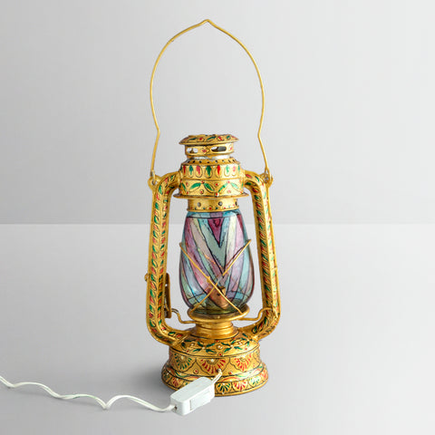 Hand Painted Hurrican Lantern with Bulb : Golden