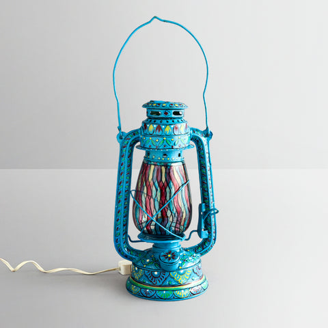 Hand Painted Hurrican Lantern with Bulb : Sky Blue