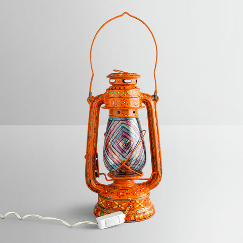 Hand Painted Hurrican Lantern with Bulb : Orange