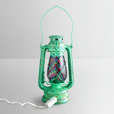 Hand Painted Hurrican Lantern with Bulb : Aqua Green