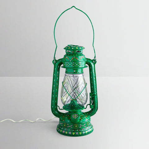 Hand Painted Hurrican Lantern with Bulb : Green