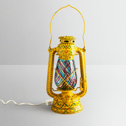 Hand Painted Hurrican Lantern with Bulb : Yellow