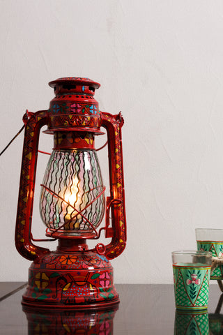 Hand Painted Hurrican Lantern with Bulb : Red Celebration