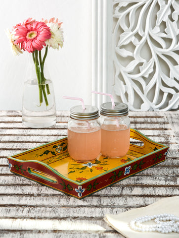 Hand Painted tray set of 2 : Mughal Floral
