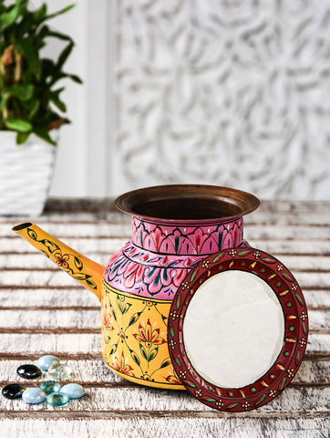 Hand Painted Copper Pitcher : Mughal Yellow