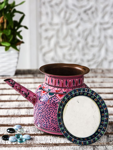Hand Painted Copper Pitcher : Mughal Pink