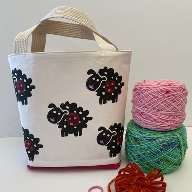Project bag for knitters, black sheepies and pink bellies. Mini Tote perfect for a sock or hat project