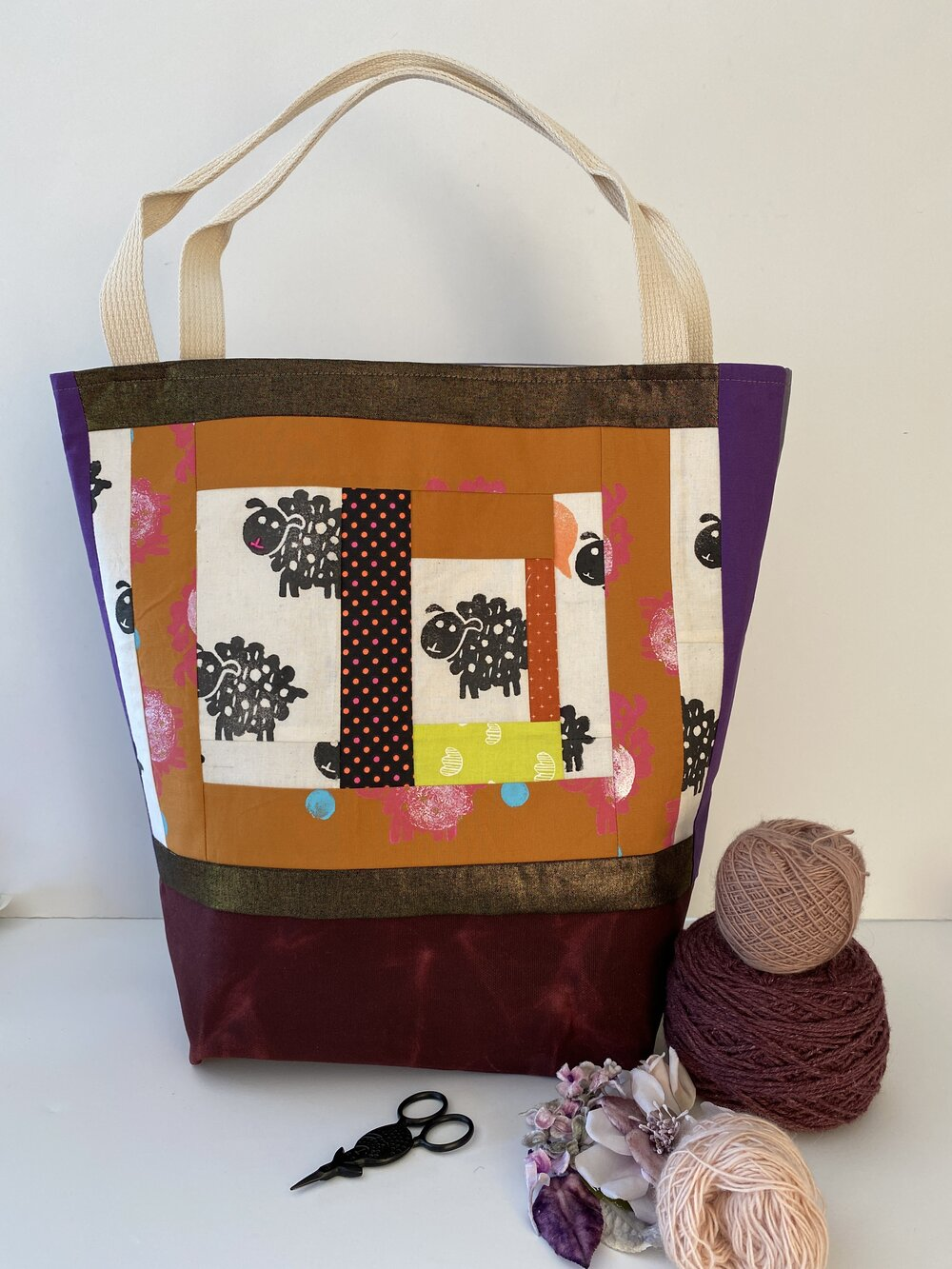 Tote - Large -Peanut butter and jelly- scrappy/quilty