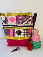Load image into Gallery viewer, Tote for knitters - Large - One hot pink sheepie print