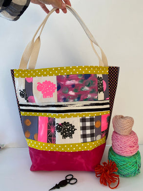large bag for knitters, tote for knitters, one pink sheepie print and one black sheepie print, scrappy bag, quilty bag , project bag for makers