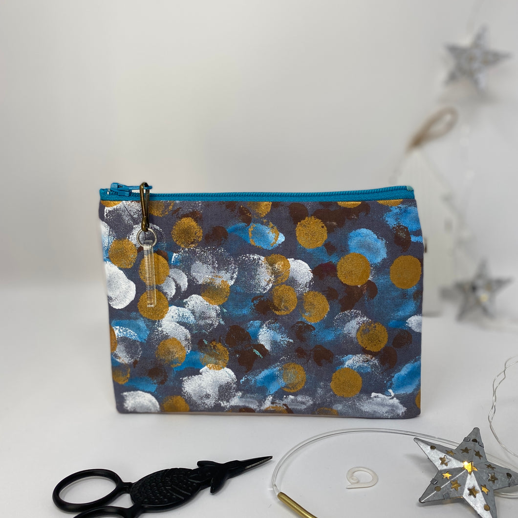Notion Bag - Gold white and teal dots
