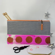 Load image into Gallery viewer, Notion Clutch - Pink and gold dots and black and white stripes