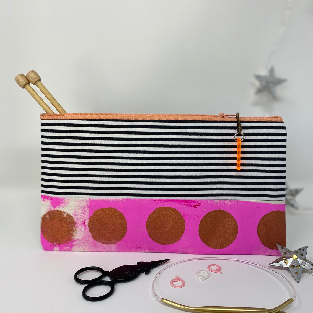 Notion Clutch - Pink and gold dots and black and white stripes