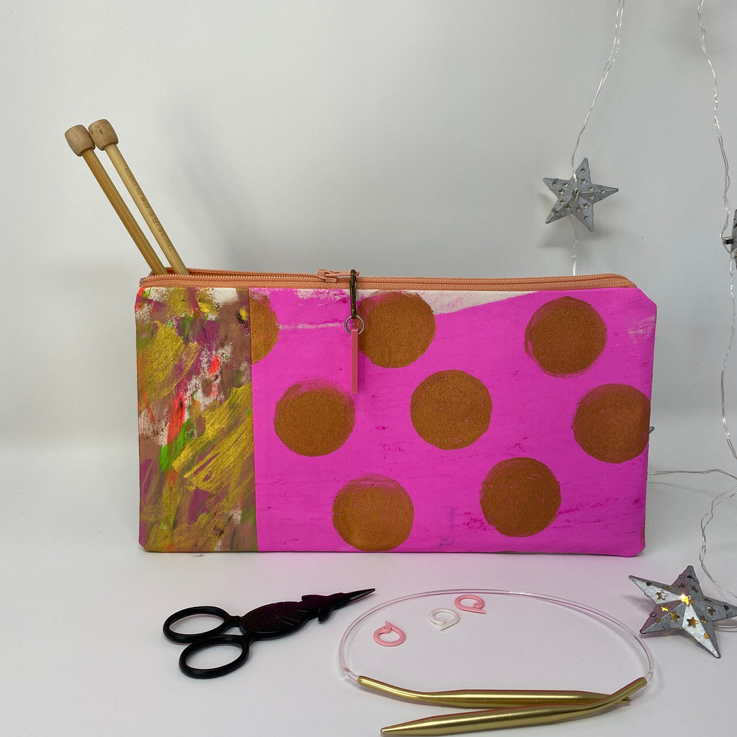 Notion Clutch - Pink and gold dots and painted fabric pop