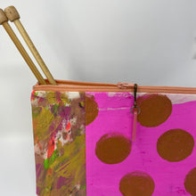 Load image into Gallery viewer, Notion Clutch - Pink and gold dots and painted fabric pop