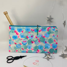 Load image into Gallery viewer, Notion Clutch - Teal and blue dots with a dot of pink