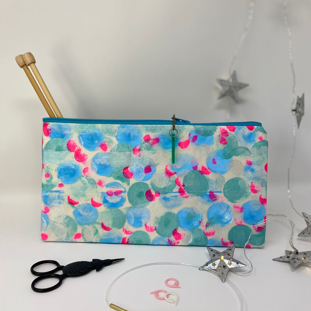 Notion Clutch - Teal and blue dots with a dot of pink
